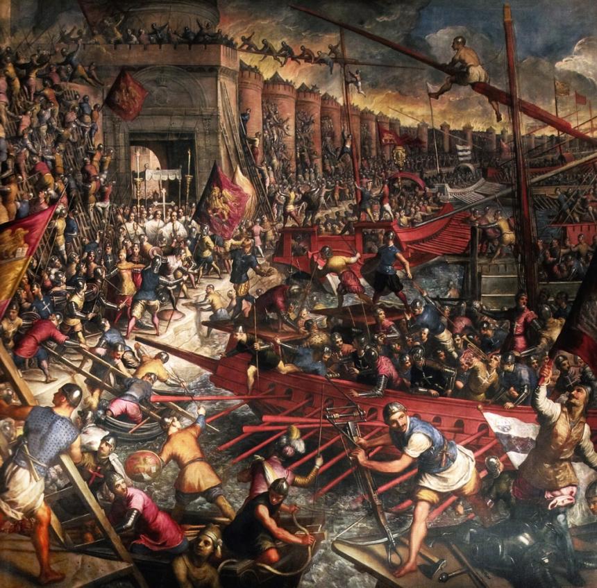 Capture de Constantinople, Tableau du Tintoret, XVI°s, Palais ducal, Venise